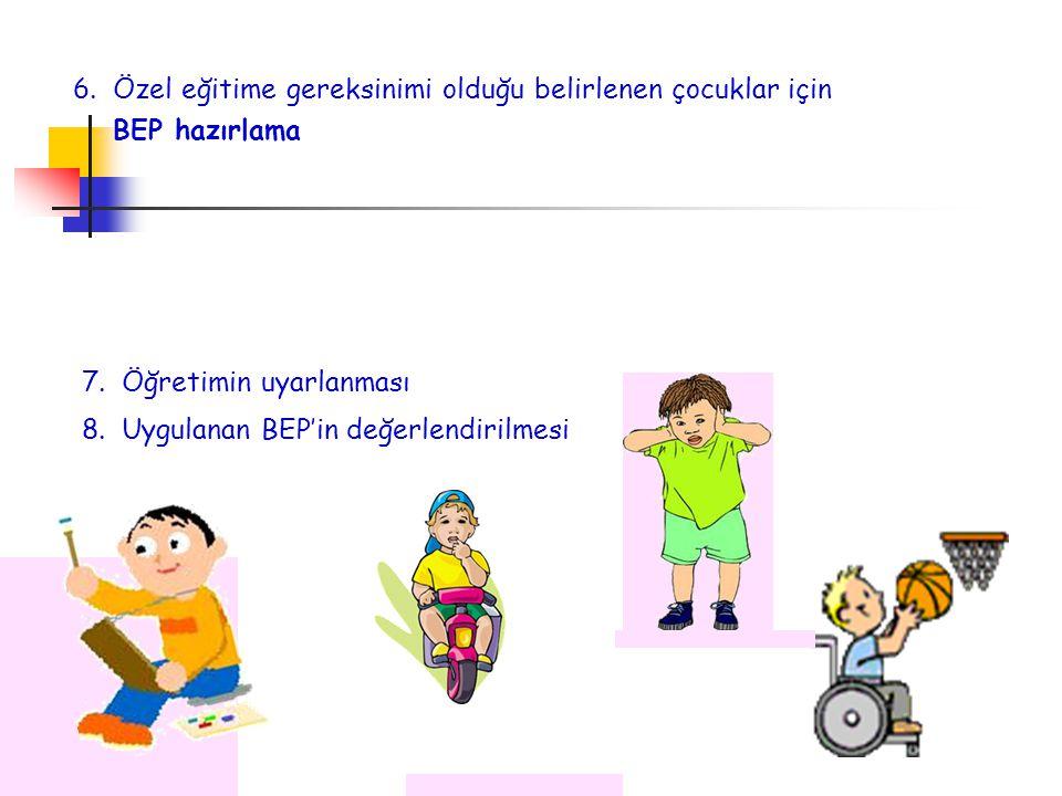 6.Özel eğitime gereksinimi olduğu belirlenen çocuklar için BEP hazırlama 7.Öğretimin uyarlanması 8.Uygulanan BEP'in değerlendirilmesi
