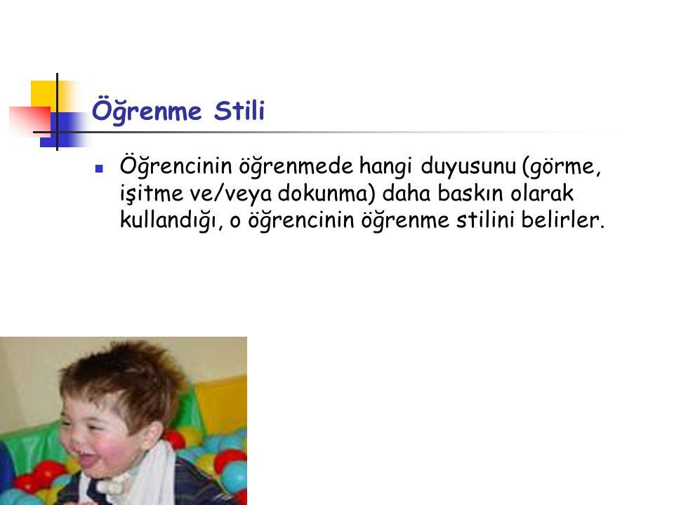 Öğrenme Stili Öğrencinin öğrenmede hangi duyusunu (görme, işitme ve/veya dokunma) daha baskın olarak kullandığı, o öğrencinin öğrenme stilini belirler.