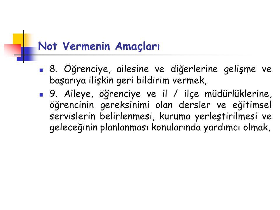 Not Vermenin Amaçları 8.