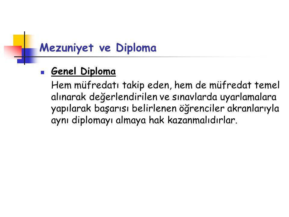 Mezuniyet ve Diploma Genel Diploma Hem müfredatı takip eden, hem de müfredat temel alınarak değerlendirilen ve sınavlarda uyarlamalara yapılarak başar