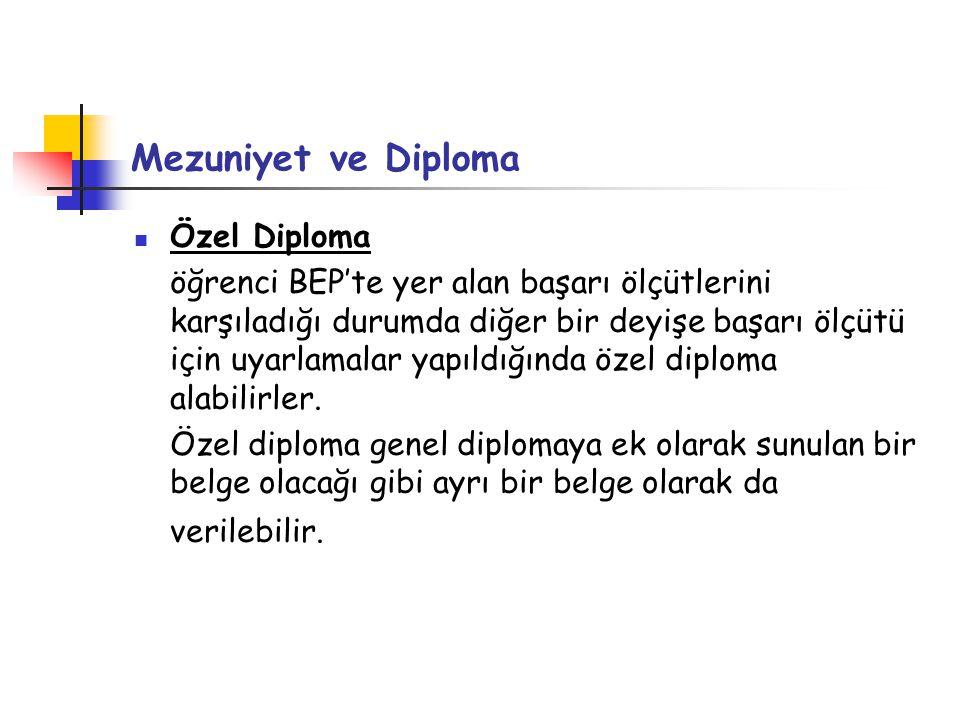 Mezuniyet ve Diploma Özel Diploma öğrenci BEP'te yer alan başarı ölçütlerini karşıladığı durumda diğer bir deyişe başarı ölçütü için uyarlamalar yapıldığında özel diploma alabilirler.