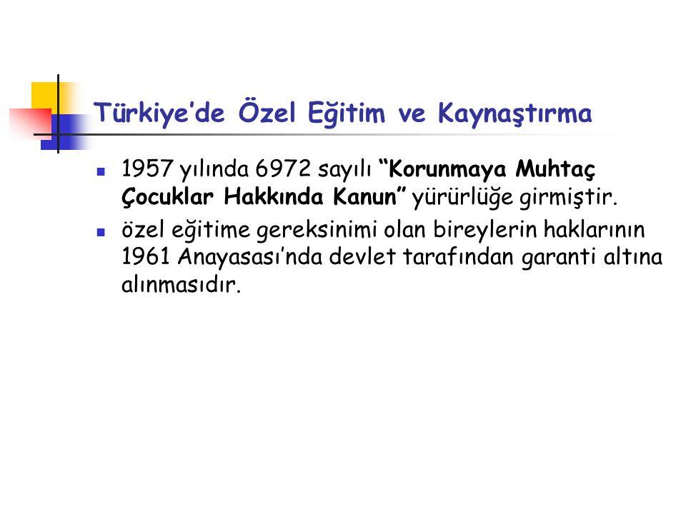 """Türkiye'de Özel Eğitim ve Kaynaştırma 1957 yılında 6972 sayılı """"Korunmaya Muhtaç Çocuklar Hakkında Kanun"""" yürürlüğe girmiştir. özel eğitime gereksinim"""
