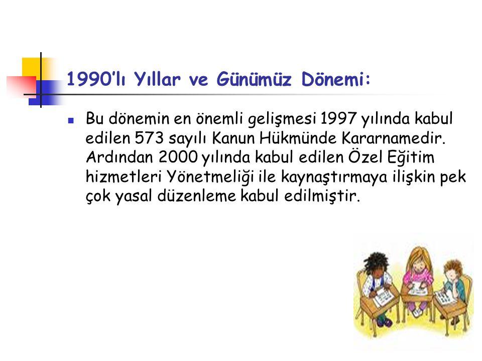 1990'lı Yıllar ve Günümüz Dönemi: Bu dönemin en önemli gelişmesi 1997 yılında kabul edilen 573 sayılı Kanun Hükmünde Kararnamedir.