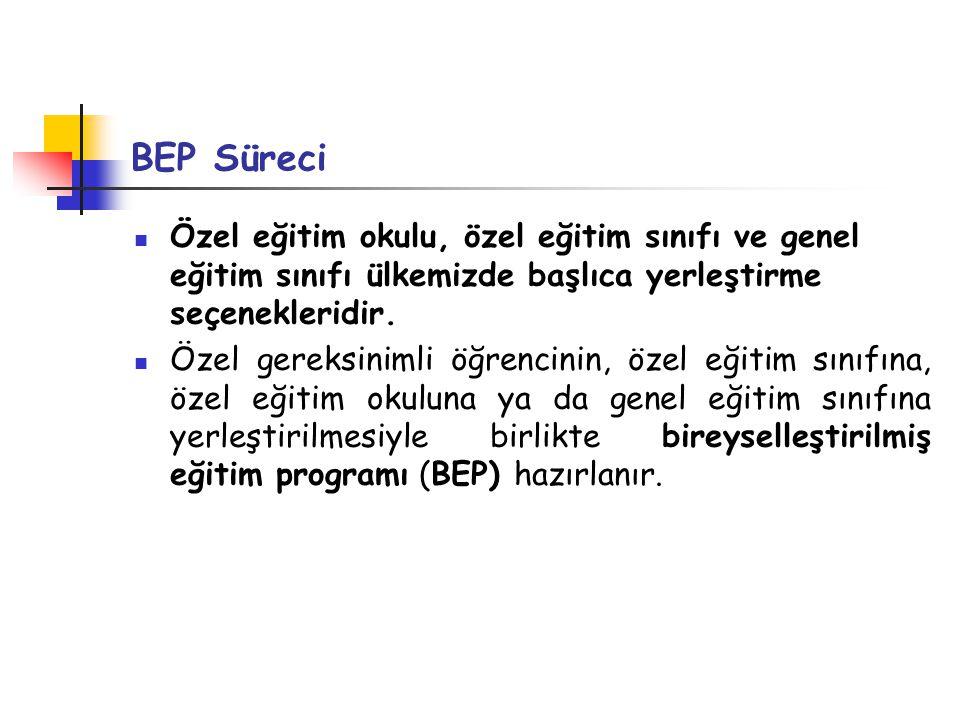 BEP Süreci Özel eğitim okulu, özel eğitim sınıfı ve genel eğitim sınıfı ülkemizde başlıca yerleştirme seçenekleridir.