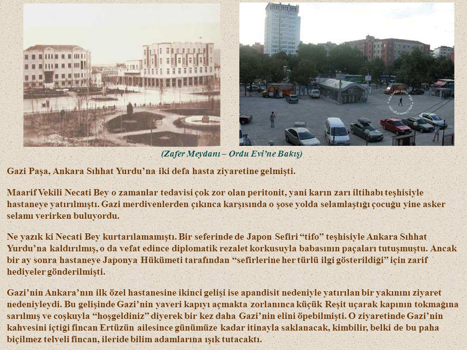 """(Sıhhat Yurdu'nun terasında)(Ankara Sıhhat Yurdu)(ve daha sonra yıkılıp yerine dikilen """"bina"""") Ankara'da özel otomobili olan nadir ailelerdendiler. Kü"""