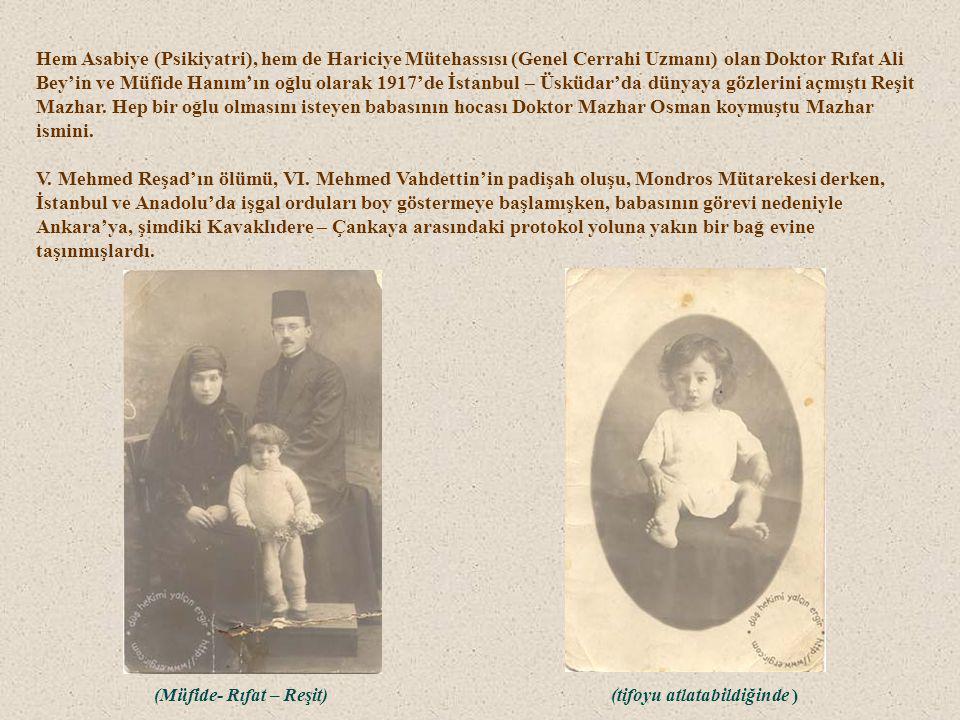 Hem Asabiye (Psikiyatri), hem de Hariciye Mütehassısı (Genel Cerrahi Uzmanı) olan Doktor Rıfat Ali Bey'in ve Müfide Hanım'ın oğlu olarak 1917'de İstanbul – Üsküdar'da dünyaya gözlerini açmıştı Reşit Mazhar.