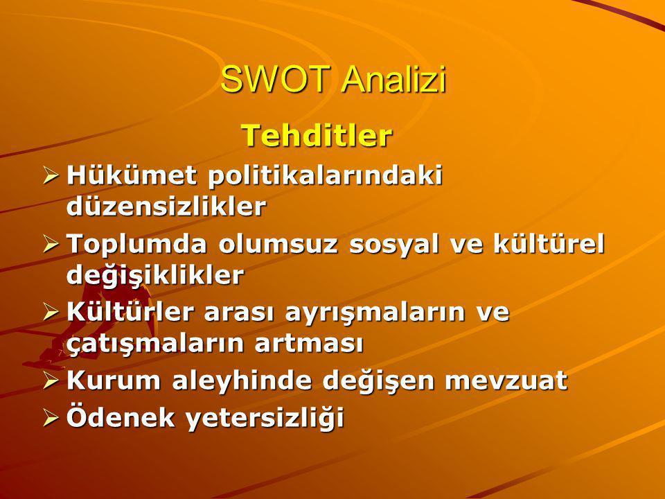 SWOT Analizi Tehditler  Hükümet politikalarındaki düzensizlikler  Toplumda olumsuz sosyal ve kültürel değişiklikler  Kültürler arası ayrışmaların ve çatışmaların artması  Kurum aleyhinde değişen mevzuat  Ödenek yetersizliği