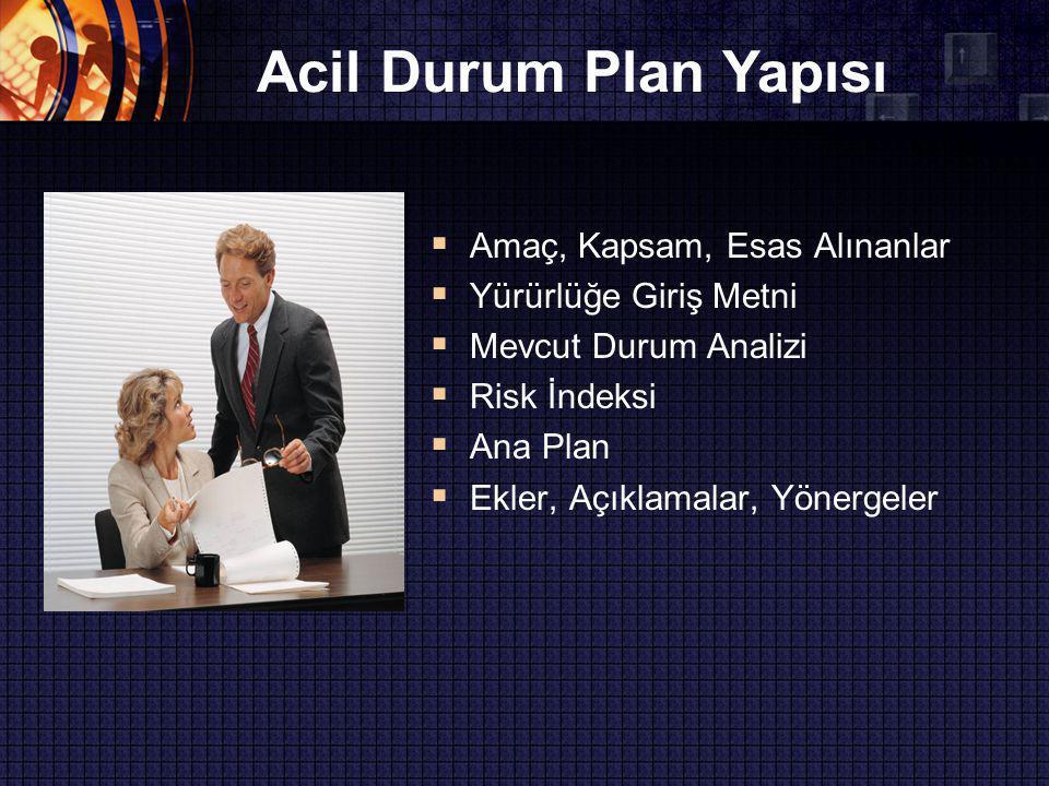 Acil Durum Plan Yapısı  Amaç, Kapsam, Esas Alınanlar  Yürürlüğe Giriş Metni  Mevcut Durum Analizi  Risk İndeksi  Ana Plan  Ekler, Açıklamalar, Yönergeler