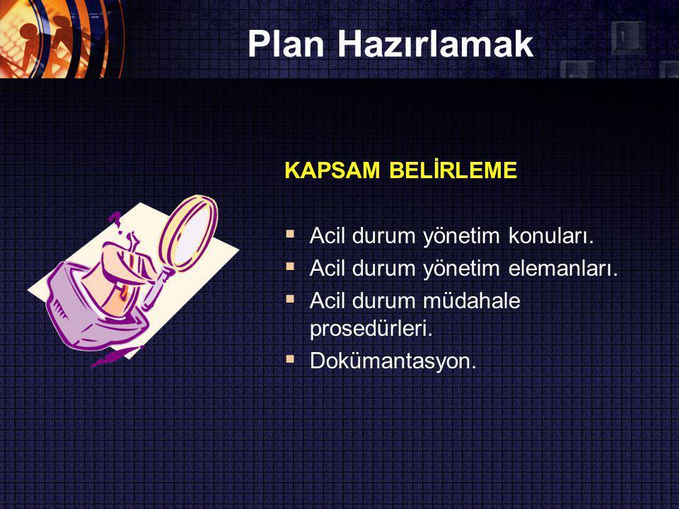 Plan Hazırlamak KAPSAM BELİRLEME  Acil durum yönetim konuları.