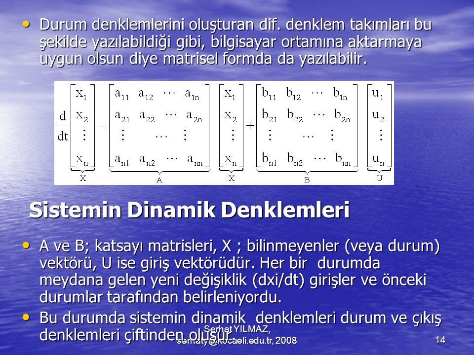 Serhat YILMAZ, serhaty@kocaeli.edu.tr, 200814 Sistemin Dinamik Denklemleri Durum denklemlerini oluşturan dif.
