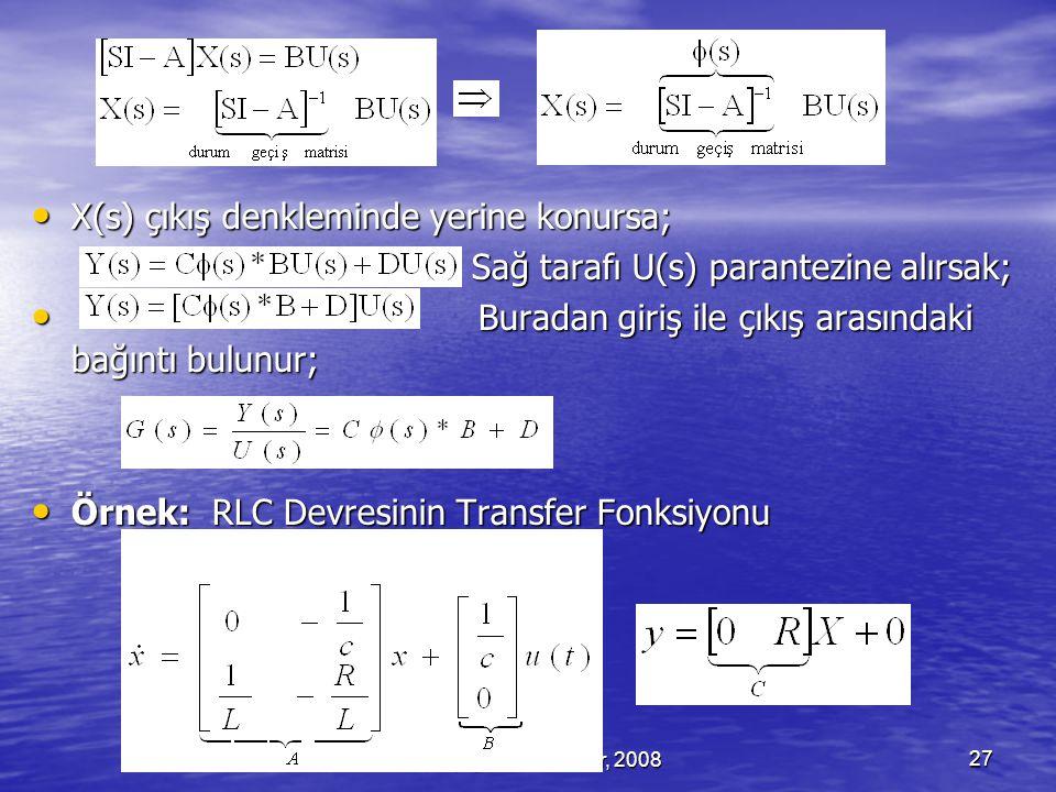 Serhat YILMAZ, serhaty@kocaeli.edu.tr, 200827 X(s) çıkış denkleminde yerine konursa; X(s) çıkış denkleminde yerine konursa; Sağ tarafı U(s) parantezine alırsak; Sağ tarafı U(s) parantezine alırsak; Buradan giriş ile çıkış arasındaki bağıntı bulunur; Buradan giriş ile çıkış arasındaki bağıntı bulunur; Örnek: RLC Devresinin Transfer Fonksiyonu Örnek: RLC Devresinin Transfer Fonksiyonu