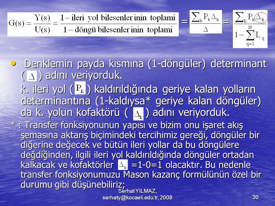 Serhat YILMAZ, serhaty@kocaeli.edu.tr, 200830 = = = = Denklemin payda kısmına (1-döngüler) determinant ( ) adını veriyorduk.