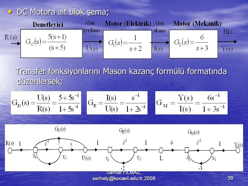 Serhat YILMAZ, serhaty@kocaeli.edu.tr, 200839 DC Motora ait blok şema; DC Motora ait blok şema; Transfer fonksiyonlarını Mason kazanç formülü formatında düzenlersek; Transfer fonksiyonlarını Mason kazanç formülü formatında düzenlersek;