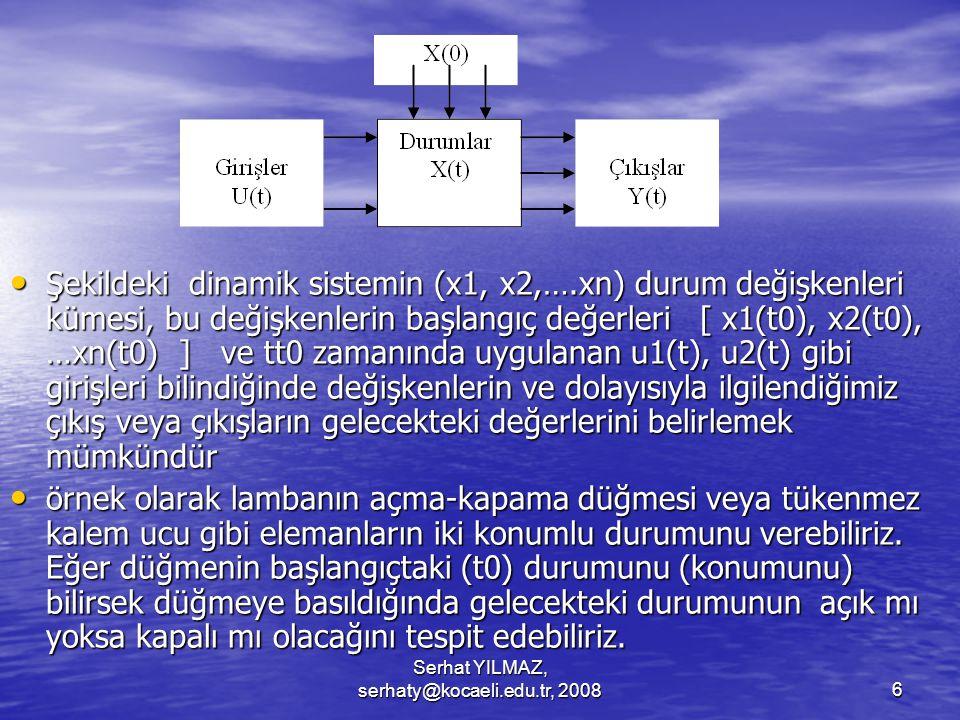 Serhat YILMAZ, serhaty@kocaeli.edu.tr, 20086 Şekildeki dinamik sistemin (x1, x2,….xn) durum değişkenleri kümesi, bu değişkenlerin başlangıç değerleri [ x1(t0), x2(t0), …xn(t0) ] ve tt0 zamanında uygulanan u1(t), u2(t) gibi girişleri bilindiğinde değişkenlerin ve dolayısıyla ilgilendiğimiz çıkış veya çıkışların gelecekteki değerlerini belirlemek mümkündür Şekildeki dinamik sistemin (x1, x2,….xn) durum değişkenleri kümesi, bu değişkenlerin başlangıç değerleri [ x1(t0), x2(t0), …xn(t0) ] ve tt0 zamanında uygulanan u1(t), u2(t) gibi girişleri bilindiğinde değişkenlerin ve dolayısıyla ilgilendiğimiz çıkış veya çıkışların gelecekteki değerlerini belirlemek mümkündür örnek olarak lambanın açma-kapama düğmesi veya tükenmez kalem ucu gibi elemanların iki konumlu durumunu verebiliriz.