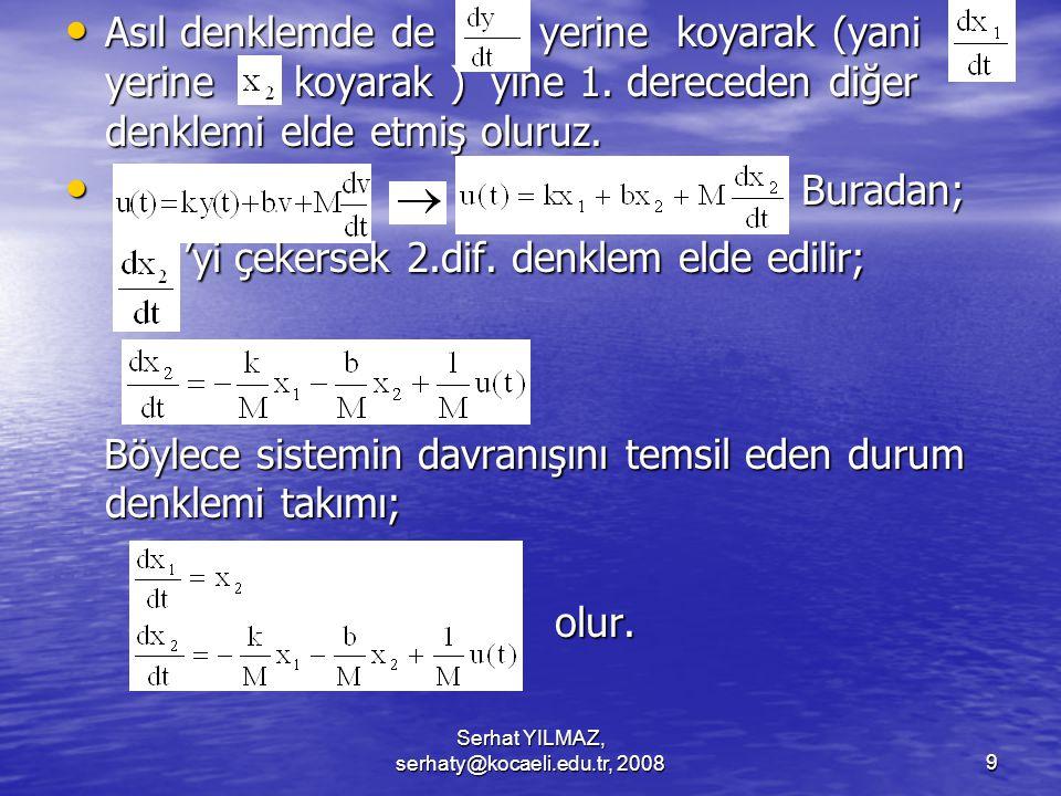 Serhat YILMAZ, serhaty@kocaeli.edu.tr, 20089 Asıl denklemde de yerine koyarak (yani yerine koyarak ) yine 1.