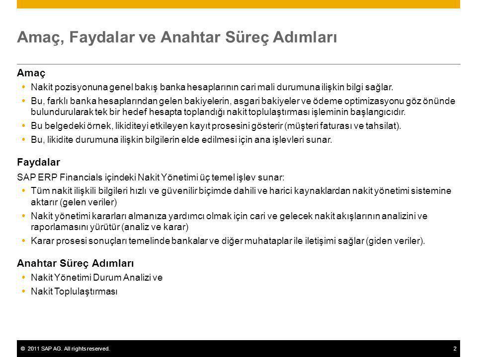 ©2011 SAP AG. All rights reserved.2 Amaç, Faydalar ve Anahtar Süreç Adımları Amaç  Nakit pozisyonuna genel bakış banka hesaplarının cari mali durumun