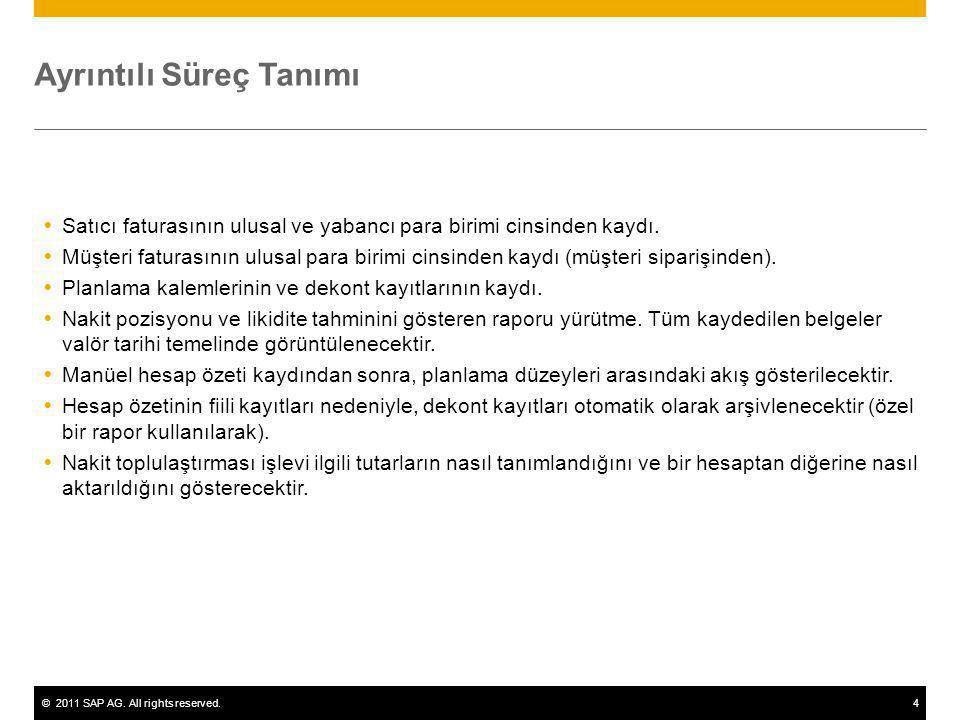 ©2011 SAP AG. All rights reserved.4 Ayrıntılı Süreç Tanımı  Satıcı faturasının ulusal ve yabancı para birimi cinsinden kaydı.  Müşteri faturasının u