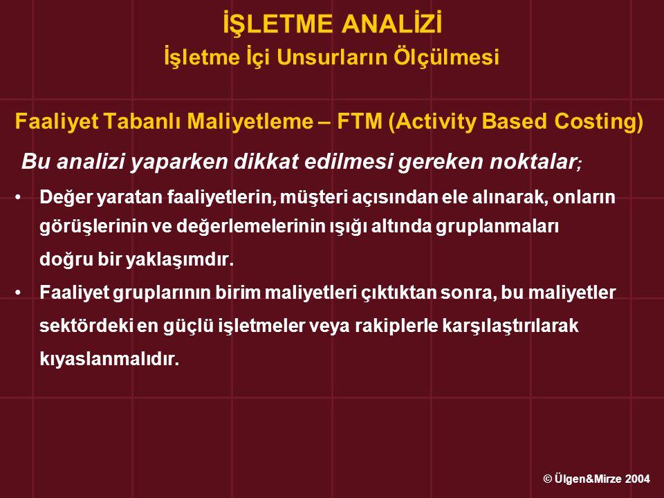 İŞLETME ANALİZİ İşletme İçi Unsurların Ölçülmesi Faaliyet Tabanlı Maliyetleme – FTM (Activity Based Costing) Bu analizi yaparken dikkat edilmesi gerek