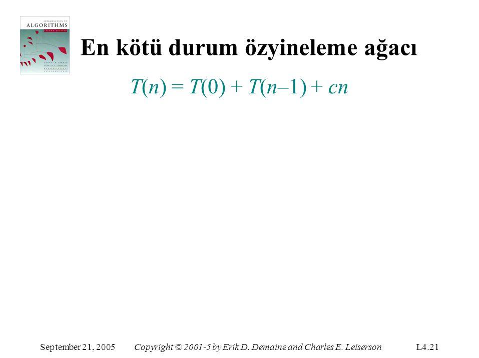 En kötü durum özyineleme ağacı September 21, 2005Copyright © 2001-5 by Erik D. Demaine and Charles E. LeisersonL4.21 T(n) = T(0) + T(n–1) + cn