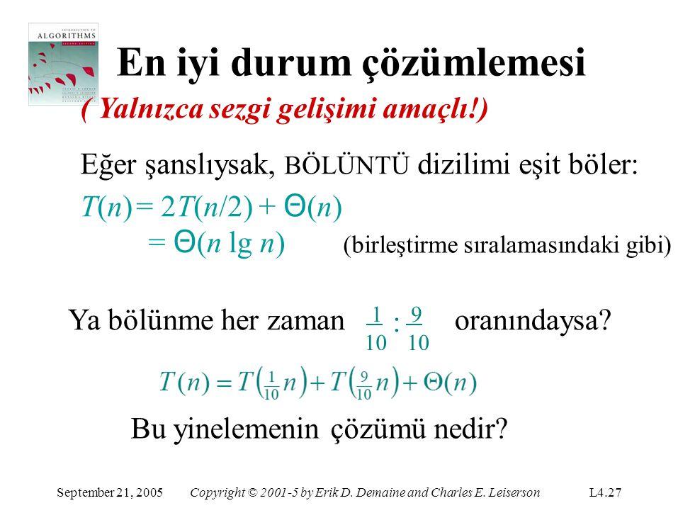 En iyi durum çözümlemesi ( Yalnızca sezgi gelişimi amaçlı!) Eğer şanslıysak, BÖLÜNTÜ dizilimi eşit böler: T(n)= 2T(n/2) + Θ (n) = Θ (n lg n) (birleşti