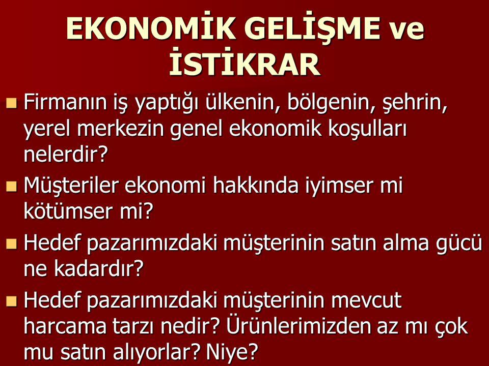 EKONOMİK GELİŞME ve İSTİKRAR Firmanın iş yaptığı ülkenin, bölgenin, şehrin, yerel merkezin genel ekonomik koşulları nelerdir? Firmanın iş yaptığı ülke