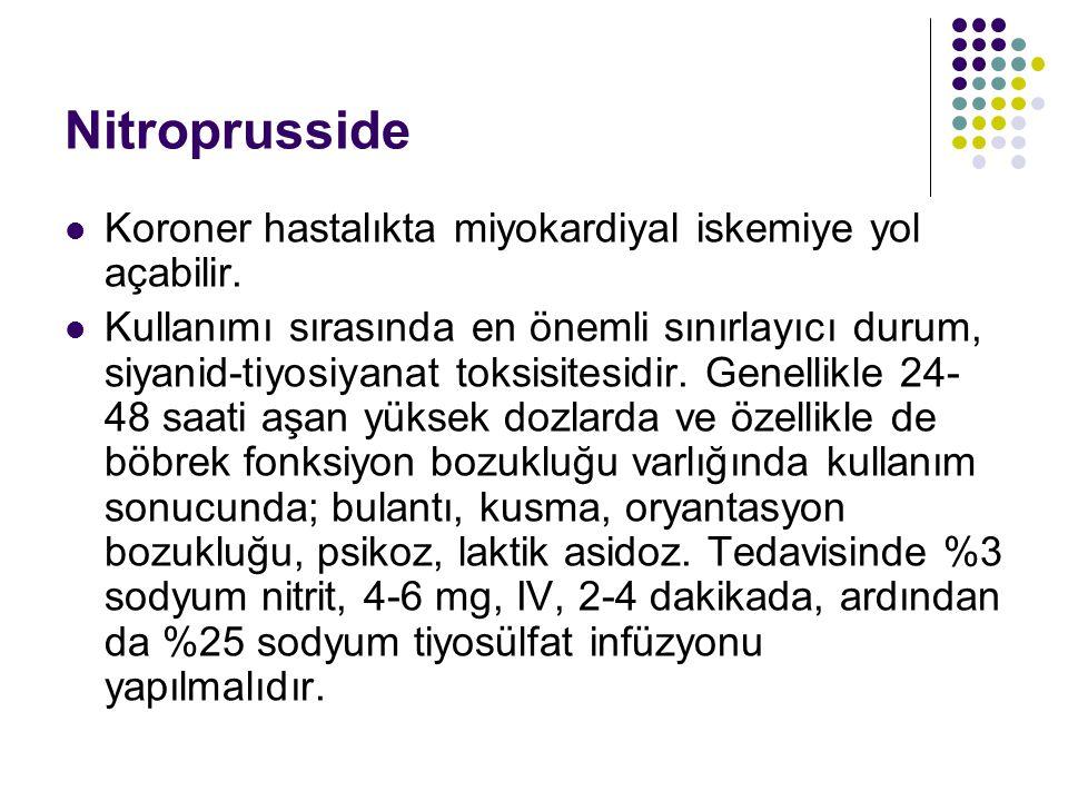 Nitroprusside Koroner hastalıkta miyokardiyal iskemiye yol açabilir. Kullanımı sırasında en önemli sınırlayıcı durum, siyanid-tiyosiyanat toksisitesid