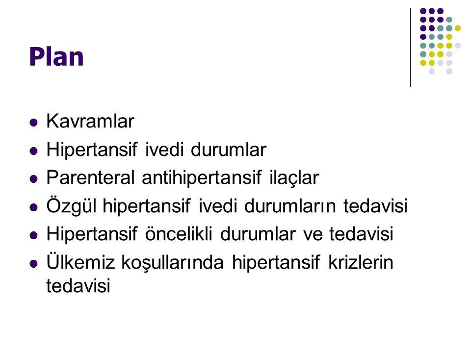 Plan Kavramlar Hipertansif ivedi durumlar Parenteral antihipertansif ilaçlar Özgül hipertansif ivedi durumların tedavisi Hipertansif öncelikli durumla