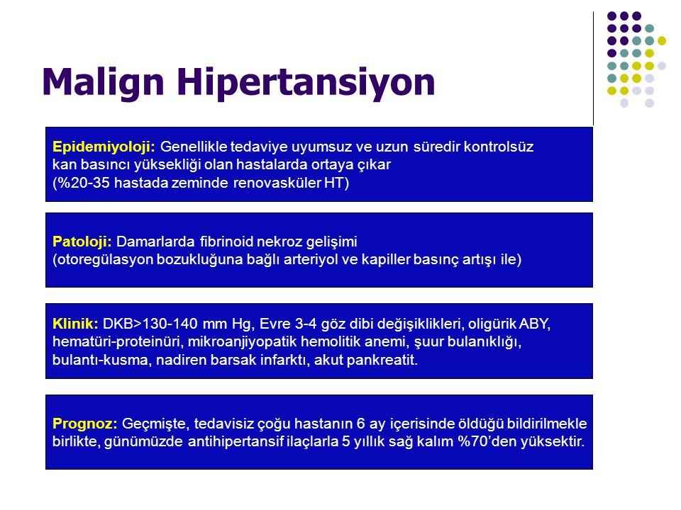 Malign Hipertansiyon Epidemiyoloji: Genellikle tedaviye uyumsuz ve uzun süredir kontrolsüz kan basıncı yüksekliği olan hastalarda ortaya çıkar (%20-35