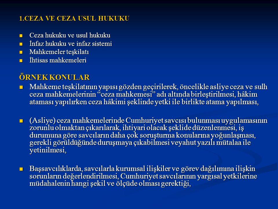 1.CEZA VE CEZA USUL HUKUKU Ceza hukuku ve usul hukuku Ceza hukuku ve usul hukuku İnfaz hukuku ve infaz sistemi İnfaz hukuku ve infaz sistemi Mahkemeler teşkilatı Mahkemeler teşkilatı İhtisas mahkemeleri İhtisas mahkemeleri ÖRNEK KONULAR Mahkeme teşkilatının yapısı gözden geçirilerek, öncelikle asliye ceza ve sulh ceza mahkemelerinin ceza mahkemesi adı altında birleştirilmesi, hâkim ataması yapılırken ceza hâkimi şeklinde yetki ile birlikte atama yapılması, Mahkeme teşkilatının yapısı gözden geçirilerek, öncelikle asliye ceza ve sulh ceza mahkemelerinin ceza mahkemesi adı altında birleştirilmesi, hâkim ataması yapılırken ceza hâkimi şeklinde yetki ile birlikte atama yapılması, (Asliye) ceza mahkemelerinde Cumhuriyet savcısı bulunması uygulamasının zorunlu olmaktan çıkarılarak, ihtiyari olacak şeklide düzenlenmesi, iş durumuna göre savcıların daha çok soruşturma konularına yoğunlaşması, gerekli görüldüğünde duruşmaya çıkabilmesi veyahut yazılı mütalaa ile yetinilmesi, (Asliye) ceza mahkemelerinde Cumhuriyet savcısı bulunması uygulamasının zorunlu olmaktan çıkarılarak, ihtiyari olacak şeklide düzenlenmesi, iş durumuna göre savcıların daha çok soruşturma konularına yoğunlaşması, gerekli görüldüğünde duruşmaya çıkabilmesi veyahut yazılı mütalaa ile yetinilmesi, Başsavcılıklarda, savcılarla kurumsal ilişkiler ve görev dağılımına ilişkin sorunların değerlendirilmesi, Cumhuriyet savcılarının yargısal yetkilerine müdahalenin hangi şekil ve ölçüde olması gerektiği, Başsavcılıklarda, savcılarla kurumsal ilişkiler ve görev dağılımına ilişkin sorunların değerlendirilmesi, Cumhuriyet savcılarının yargısal yetkilerine müdahalenin hangi şekil ve ölçüde olması gerektiği,