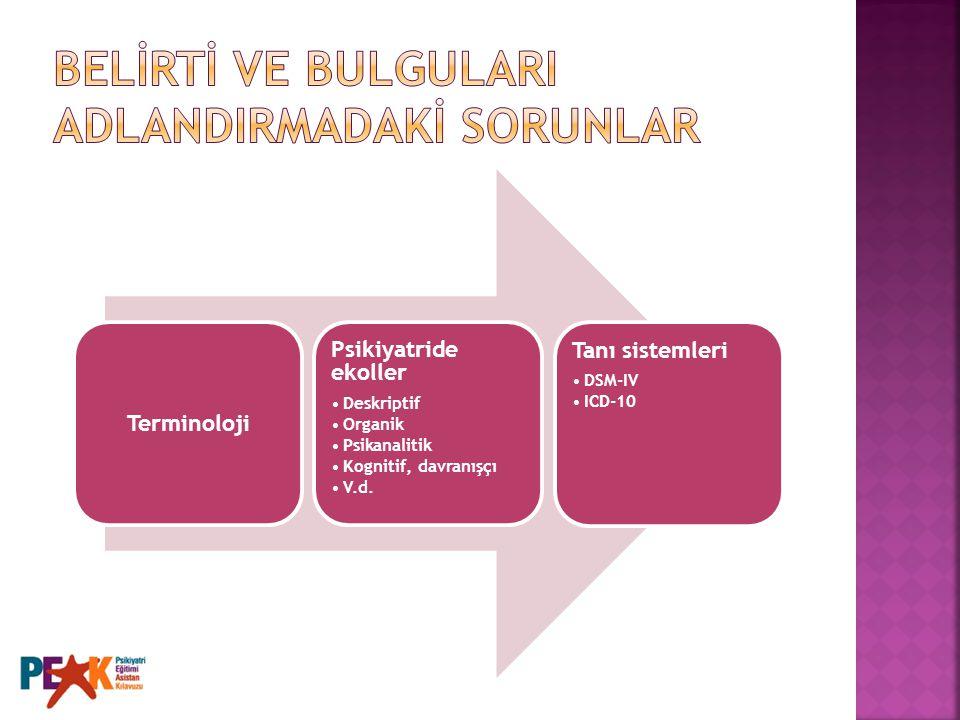 Terminoloji Psikiyatride ekoller Deskriptif Organik Psikanalitik Kognitif, davranışçı V.d. Tanı sistemleri DSM-IV ICD-10