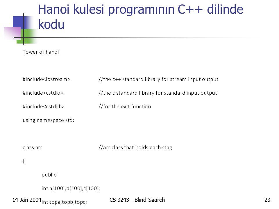 Hanoi kulesi programının C++ dilinde kodu 14 Jan 2004CS 3243 - Blind Search23