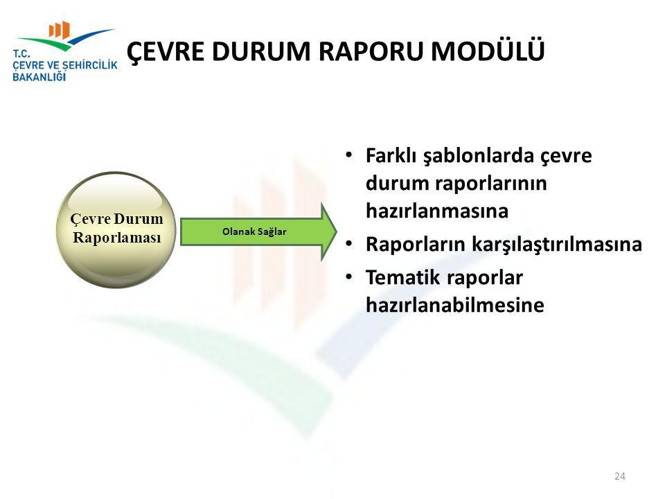 Farklı şablonlarda çevre durum raporlarının hazırlanmasına Raporların karşılaştırılmasına Tematik raporlar hazırlanabilmesine Çevre Durum Raporlaması