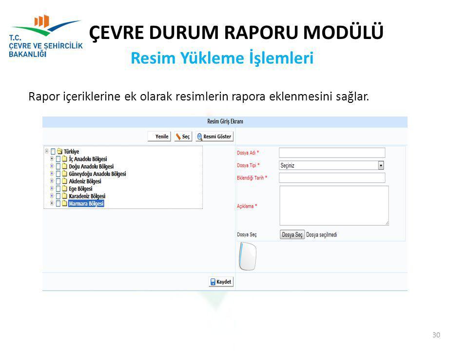 Rapor içeriklerine ek olarak resimlerin rapora eklenmesini sağlar.