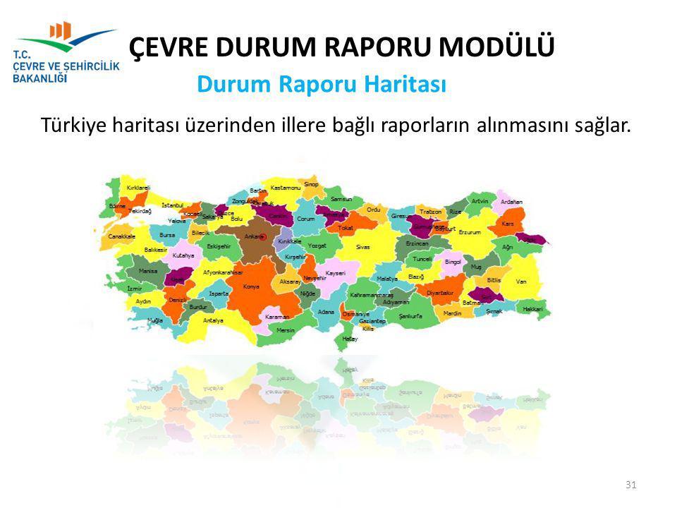 Türkiye haritası üzerinden illere bağlı raporların alınmasını sağlar. Durum Raporu Haritası ÇEVRE DURUM RAPORU MODÜLÜ 31