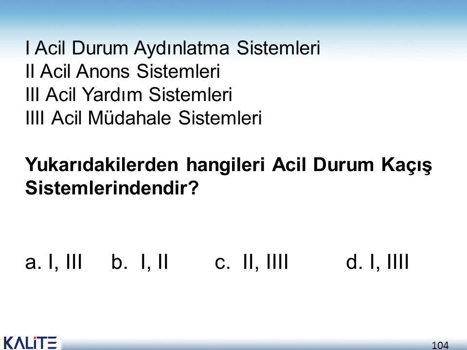 104 I Acil Durum Aydınlatma Sistemleri II Acil Anons Sistemleri III Acil Yardım Sistemleri IIII Acil Müdahale Sistemleri Yukarıdakilerden hangileri Ac