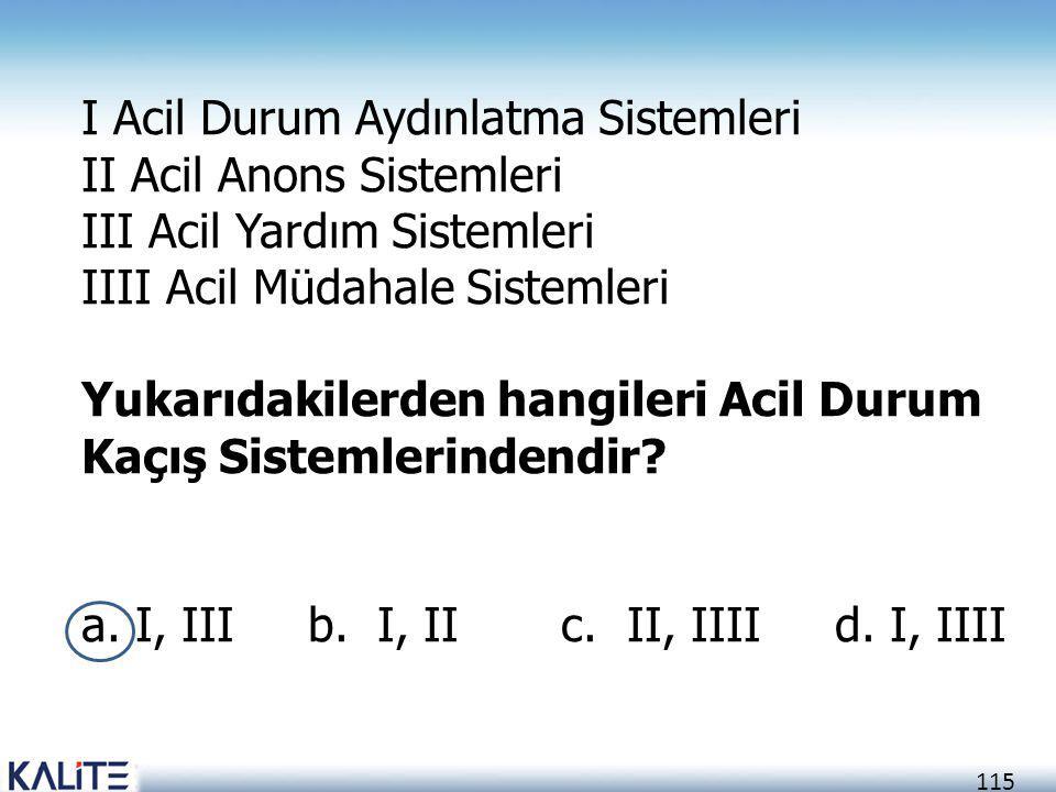 115 I Acil Durum Aydınlatma Sistemleri II Acil Anons Sistemleri III Acil Yardım Sistemleri IIII Acil Müdahale Sistemleri Yukarıdakilerden hangileri Ac