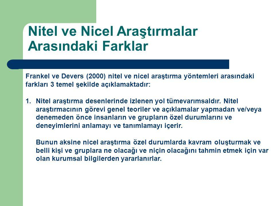 Frankel ve Devers (2000) nitel ve nicel araştırma yöntemleri arasındaki farkları 3 temel şekilde açıklamaktadır: 1.Nitel araştırma desenlerinde izlenen yol tümevarımsaldır.
