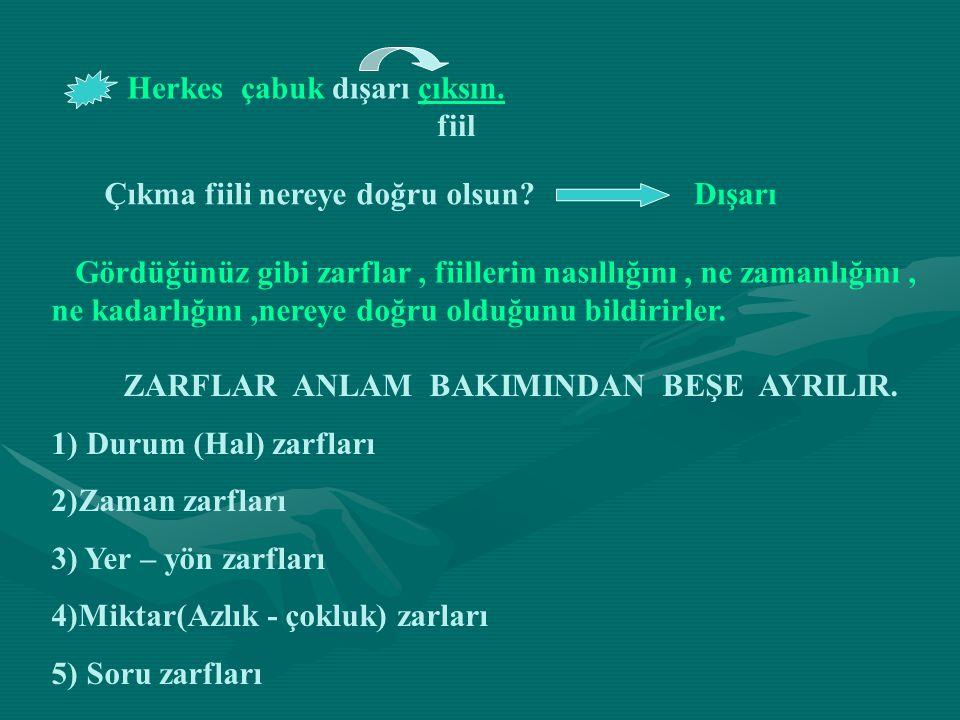 1) DURUM (HAL) ZARFLARI Fiilin nasıllığını bildiren kelimelerdir.