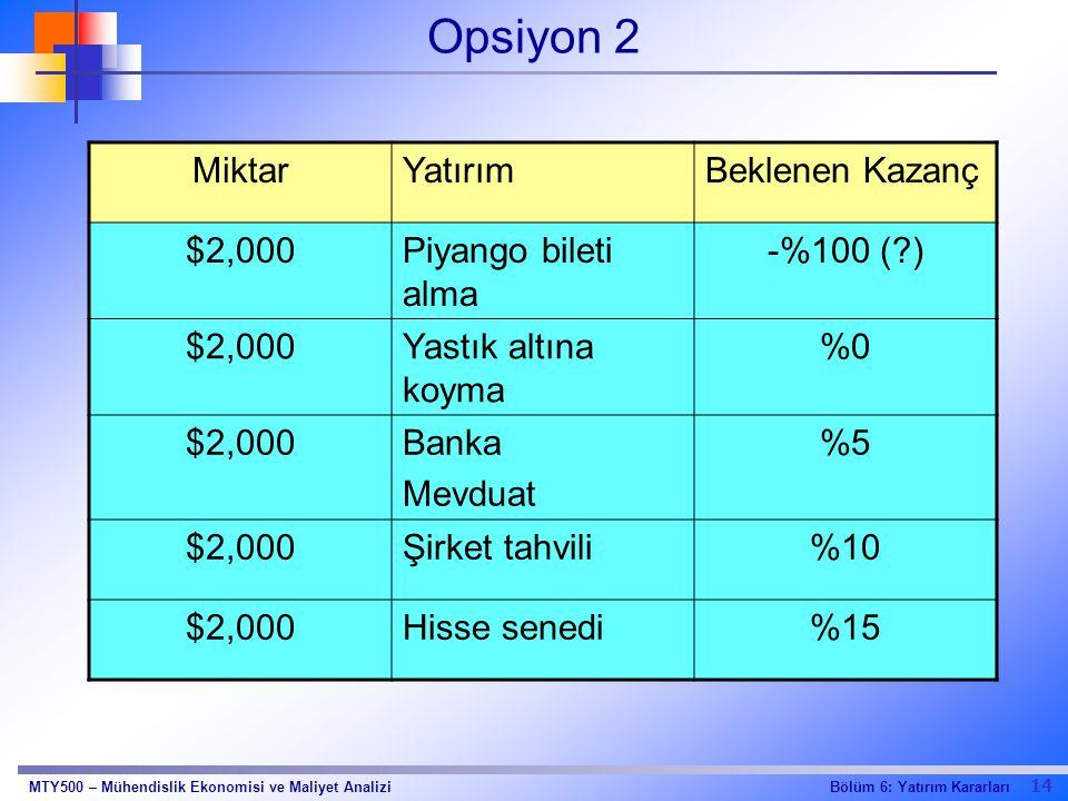 14 Bölüm 6: Yatırım KararlarıMTY500 – Mühendislik Ekonomisi ve Maliyet Analizi Opsiyon 2 MiktarYatırımBeklenen Kazanç $2,000Piyango bileti alma -%100