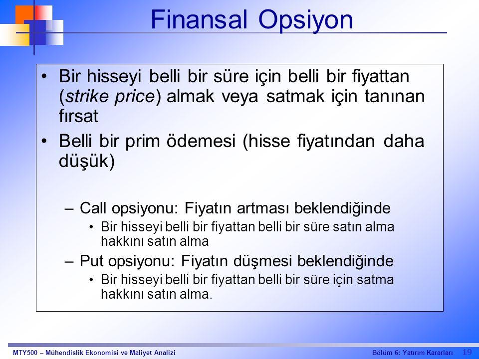 19 Bölüm 6: Yatırım KararlarıMTY500 – Mühendislik Ekonomisi ve Maliyet Analizi Finansal Opsiyon Bir hisseyi belli bir süre için belli bir fiyattan (st