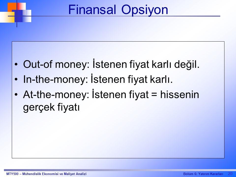 20 Bölüm 6: Yatırım KararlarıMTY500 – Mühendislik Ekonomisi ve Maliyet Analizi Finansal Opsiyon Out-of money: İstenen fiyat karlı değil. In-the-money: