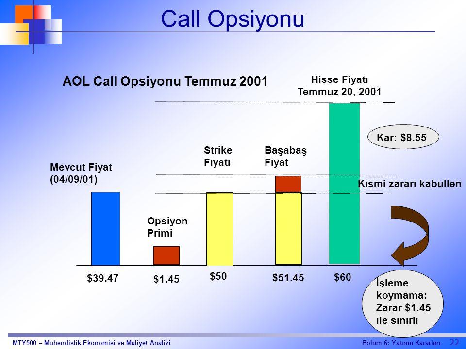 22 Bölüm 6: Yatırım KararlarıMTY500 – Mühendislik Ekonomisi ve Maliyet Analizi Call Opsiyonu $1.45 $60 $39.47 Mevcut Fiyat (04/09/01) Opsiyon Primi Hi