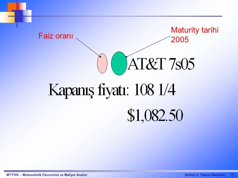 26 Bölüm 6: Yatırım KararlarıMTY500 – Mühendislik Ekonomisi ve Maliyet Analizi Faiz oranı Maturity tarihi 2005