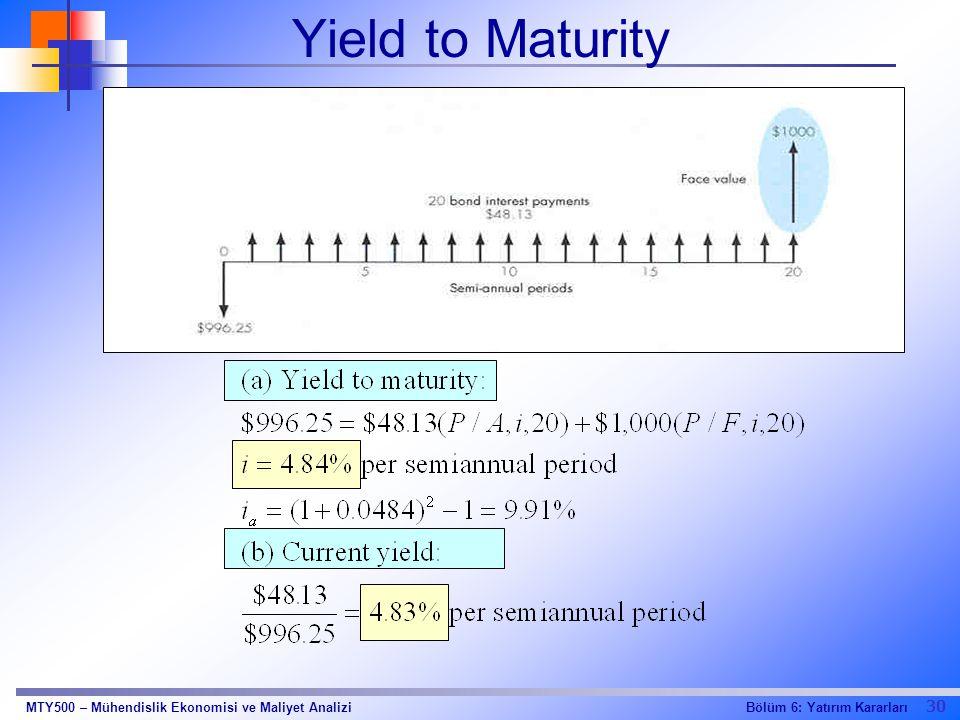 30 Bölüm 6: Yatırım KararlarıMTY500 – Mühendislik Ekonomisi ve Maliyet Analizi Yield to Maturity