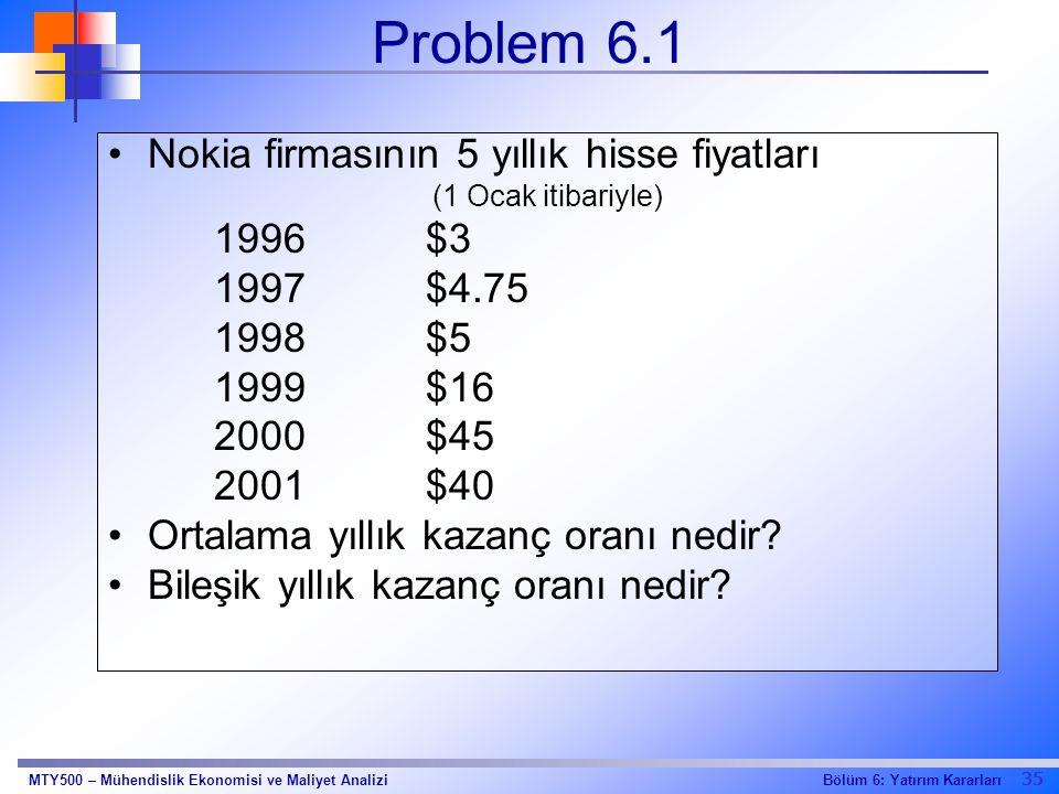 35 Bölüm 6: Yatırım KararlarıMTY500 – Mühendislik Ekonomisi ve Maliyet Analizi Problem 6.1 Nokia firmasının 5 yıllık hisse fiyatları (1 Ocak itibariyl