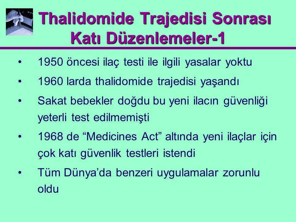 Thalidomide Trajedisi Sonrası Katı Düzenlemeler-1 Thalidomide Trajedisi Sonrası Katı Düzenlemeler-1 1950 öncesi ilaç testi ile ilgili yasalar yoktu 19