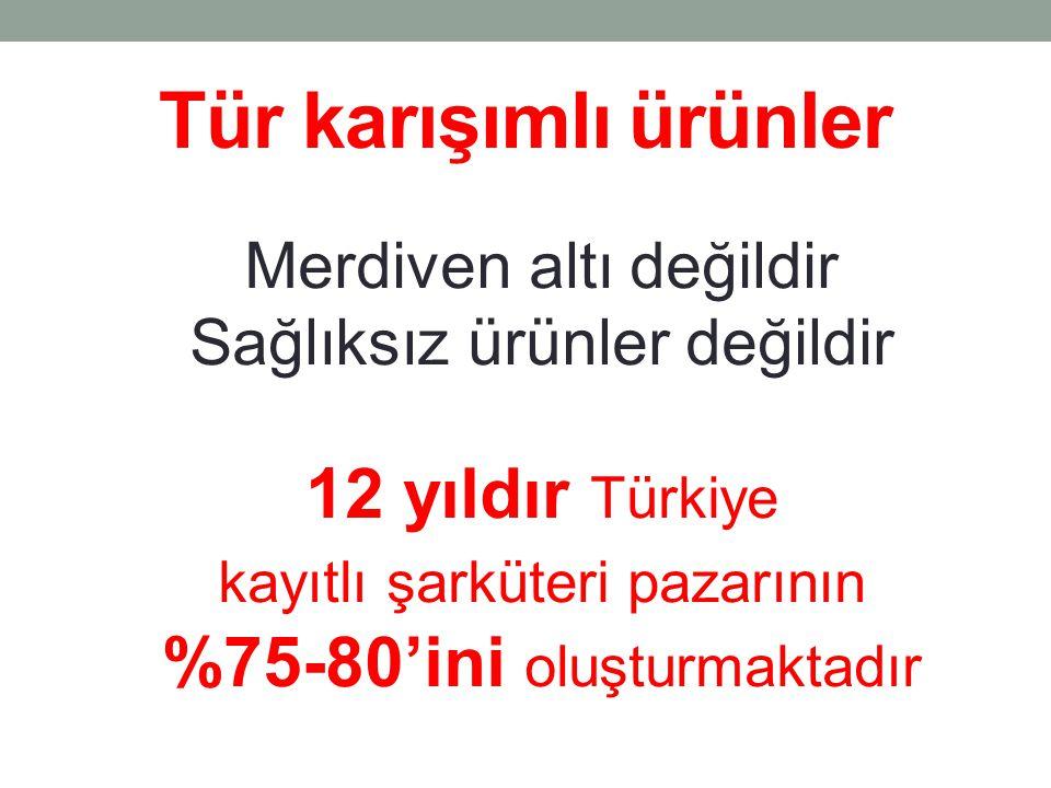 Tür karışımlı ürünler Merdiven altı değildir Sağlıksız ürünler değildir 12 yıldır Türkiye kayıtlı şarküteri pazarının %75-80'ini oluşturmaktadır