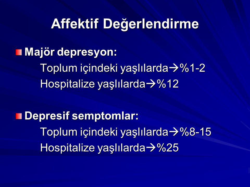 Affektif Değerlendirme Majör depresyon: Toplum içindeki yaşlılarda  %1-2 Hospitalize yaşlılarda  %12 Depresif semptomlar: Toplum içindeki yaşlılarda