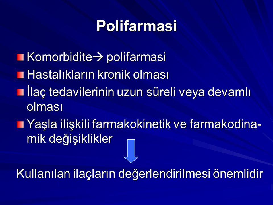Polifarmasi Komorbidite  polifarmasi Hastalıkların kronik olması İlaç tedavilerinin uzun süreli veya devamlı olması Yaşla ilişkili farmakokinetik ve