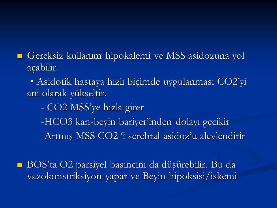 Gereksiz kullanım hipokalemi ve MSS asidozuna yol açabilir.